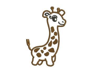 Giraffe Applique Machine Embroidery - Instant Download Giraffe Embroidery Giraffe design