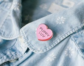 Candy Heart Enamel Pin | Valentines Day Dog pin | Dog Lover Enamel Pin|  Valentines Day Pin | Pink Heart Lapel Pin