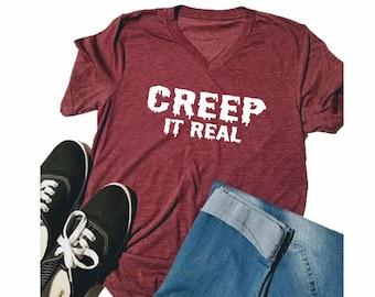 Creep it Real Tee - Creep it Real Halloween Shirt - Girls T shirt - Funny Halloween Shirt for Her - Gift -Happy Halloween Shirt - Tee shirt