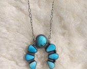 Sleeping beauty turquoise naja necklace 18""