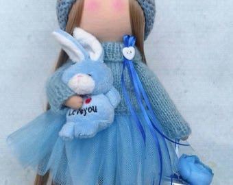 Tilda doll Interior doll Bunny doll Handmade doll Soft doll Textile doll Art doll Cloth doll Blue doll  Fabric doll Rag doll Baby