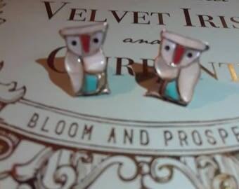 Mother of pearl owl earrings