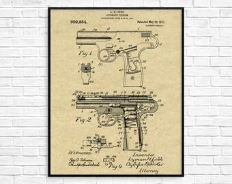 Vintage Pistol Patent Print, Weapon, 1911 Pistol Design, Firearm, Hand Gun, Instant Download