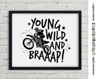 Motocross printable Wall Art - boys motorcross dirtbike dirt bike motor cross young wild - PDF JPG PNG black white graphic instant download