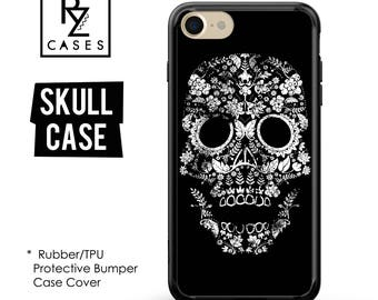 Skull Phone Case, Rock N Roll Case, Floral Phone Case, Skull, iPhone 7 Case, iPhone 6 Case, iPhone 5 Case,  Rubber Case, Bumper Case
