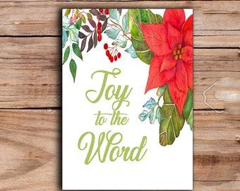 Christmas print, Joy to the word printable,Joy christmas watercolor, Christmas Decor, Watercolor Christmas flowers Print