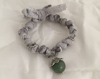 Braccaile Grey braided Woven, nickel free metal and natural jasper pendant. Gift woman. Light bracelet. Adjustable bracelet
