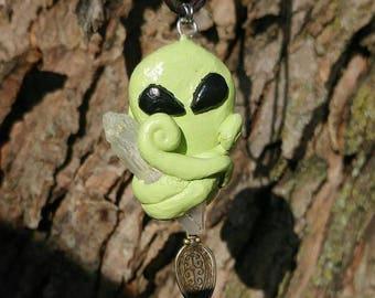 Quartz Alien Spoon Necklace