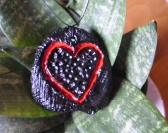 black & red hart