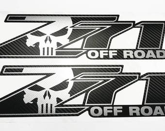 Z71 Off Road Punisher Chevy Decals Stickers Truck Silverado Vinyl Decal Sticker Carbon Fiber
