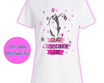 Womans Ladies Girls Tumblr Unicorn Rainbow Pink Glitter Princess Celeb Pug Kids 7 T Shirt