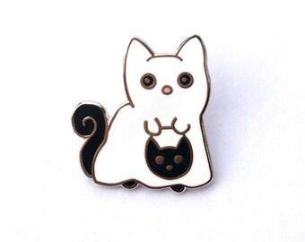 Ghost Cat Hard Enamel Pin - Trick or Treating Halloween Ghost Cat, Creepy Cute, Black and White Halloween Enamel Pin