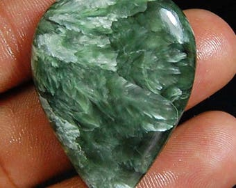 36.90 cts aaa 100% Natural DESIGNER Green SERAPHINITE Pear Shape CABOCHON Top Loose Gemstones