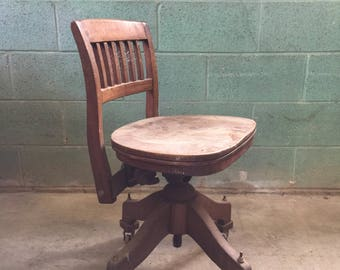 Pickup Only and Delivery to Selected Cities - Antique Wooden Bankers Swivel Chair