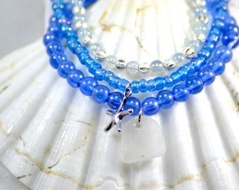 Blue sea glass bracelet / real sea glass jewelry / blue stack bracelets
