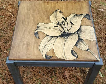 Hand Painted Lily Side End Table Wood Grey