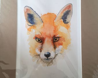 Signed Limited Edition Watercolour print of a fox