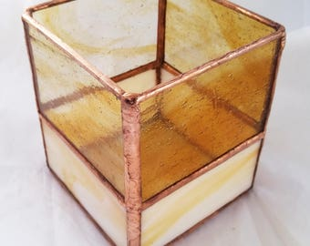 Amber and Copper Candleholder