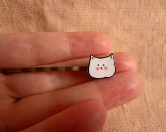 Cat Hair Pin, white cat hair pin, cat bobby pin, feline bobby pin, cute cat pin, cat hair clip, kawaii hair pin, cute hair pin, bobby pin