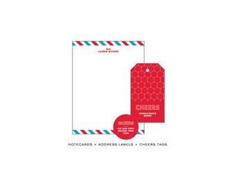 Set of Notecards + Cheers Tags + Address Stickers