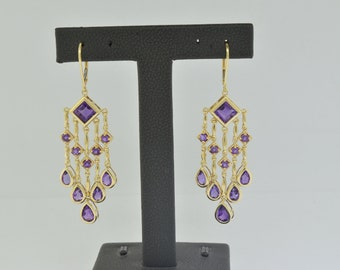 14k Gold and Amethyst Earrings