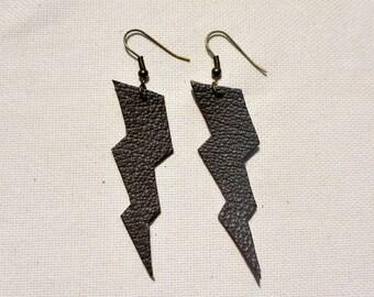 """Lightning"" brown leather earrings"