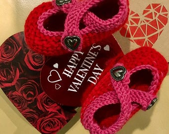 SweetHeart Hand Knitted baby booties