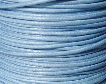 5 meters of waxed cotton miosotis Blue 1 mm