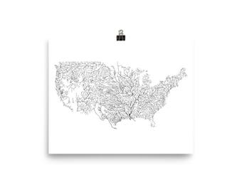 River Map Etsy - Us river map