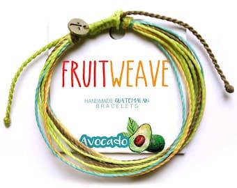 AVOCADO STRING BRACELET, Guatemalan Bracelets, Handmade bracelets, colorful bracelets, fruit based, fruit weave, friendship bracelets.