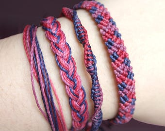 Blackberry Casual Combo Bracelets, Guatemalan Bracelets, Handmade bracelets, colorful bracelets, fruit based, weave, friendship bracelets.