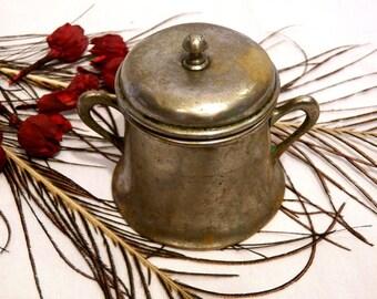 Antique Sugar Bowl, Silver Brass Sugar Bowl, Metal Sugar Bowl, Shabby Chic Sugar Bowl, Vintage Sugar Bowl, Rustic Sugar Bowl 40's