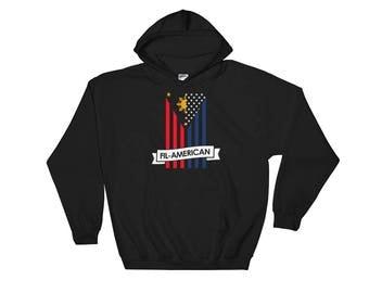 Fil-Am Filipino American Hoodie - Filipino American Flag