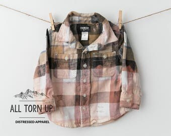 The Denali browns distressed bleached acid washed flannel long sleeve Boys plaid button up front top shirt free shipping