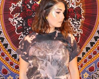 Owls Bleach Dye T-shirt