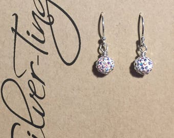 Swarovski pave ball earrings
