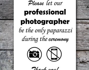 Unplugged Wedding Ceremony Sign, Printable Wedding Sign, Instant Download