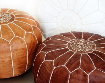 55% OFF 2 Moroccan Leather Pouf, Pouffe, Foot Stool, wedding gifts, gifts, home decor, ottoman, Moroccan, African