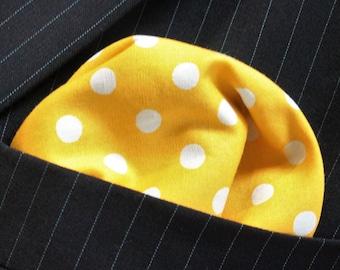 Hankie Pocket Square Handkerchief YELLOW Medium Polka Dot Premium Cotton UK Made