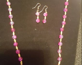 Pink and Gold Necklace and Earrings