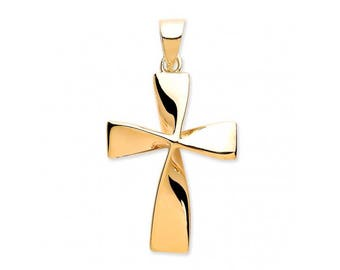 9ct Gold Modern Twisted Plain Cross Pendant 18x15mm
