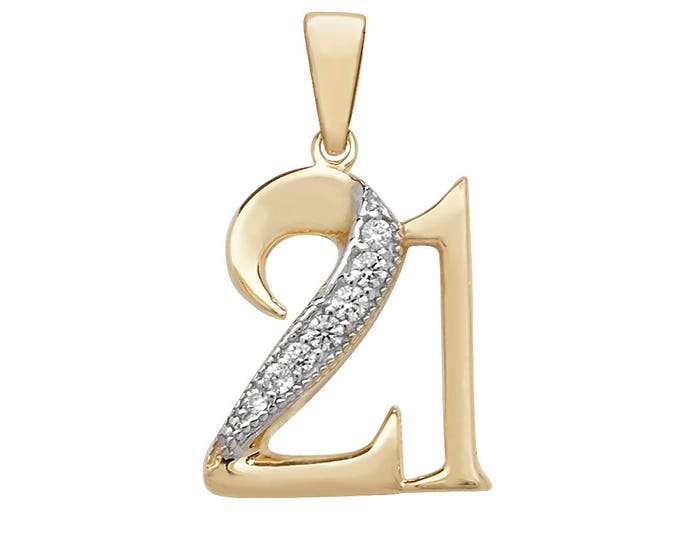 9ct Yellow Gold 21st Birthday Pendant Pave Set With Cubic Zirconia