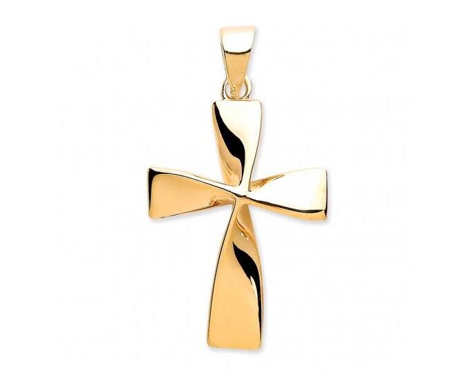 9ct Gold Modern Twisted Plain Cross Pendant 18x15mm