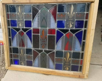 Stunning, Large Antique Stained Glass Piece