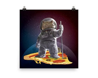 Meow Canadian Astronaut Cat Riding A Pizza In Space