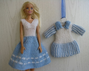 Handknitted 2 dresses for Barbie, doll dress, Barbie fashion Clothes