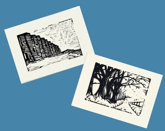 2 cards of West Dorset, linocut originals