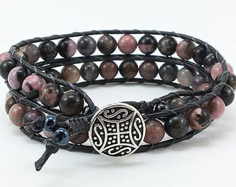 Gift for Her Beaded Wrap Bracelet Wrap Bracelet Boho Wrap Bracelet Leather Wrap Bracelet Handmade Bracelet Bead and Leather Wrap Bracelet