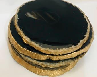 Agate Coaster's - Black Agate Stone, gold leaf rim-Set of 4