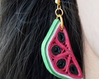 Watermelon paper filigree Earrings-PaperMelon
